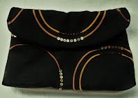 EV0029 Black Silk with Gold Sequins Clutch