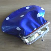 PS0080 Denim Blue Spotty Oilcloth Purse