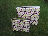 CM0214 and CM0215 Purple and Lime Spotty Cosmetic Bags