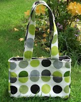 ED0207 Blue and Grey Tiles Small Oilcloth Holdall