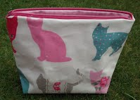 CM0239 Pink and Blue Cats Large Oilcloth